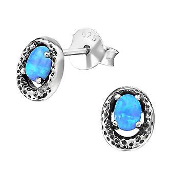 Oval - 925 Sterling Silver Opal And Semi Precious Ear Studs - W28272x