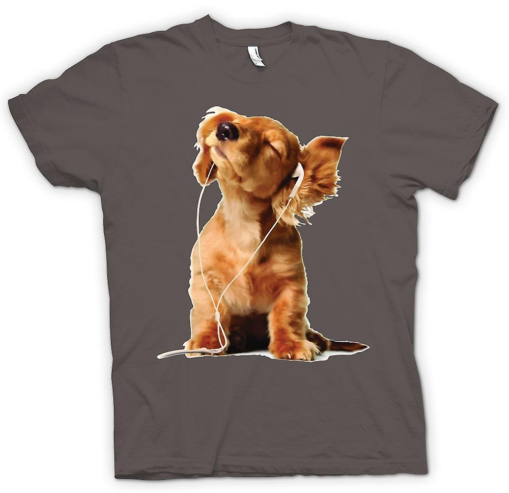 Womens T-shirt - Spaniel Listening To Ipod - Cute