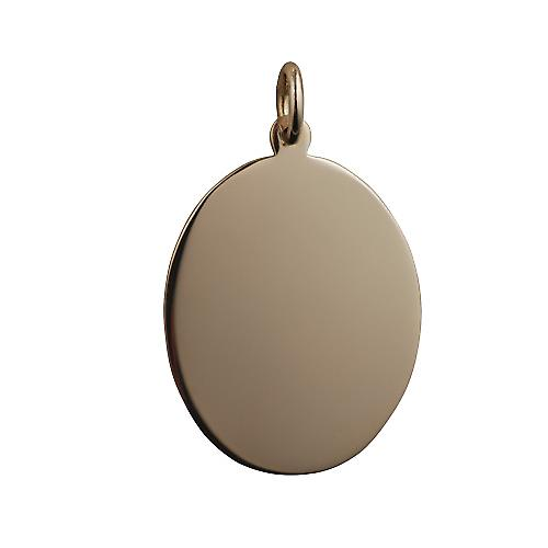 9ct Gold 27x21mm plain oval Disc