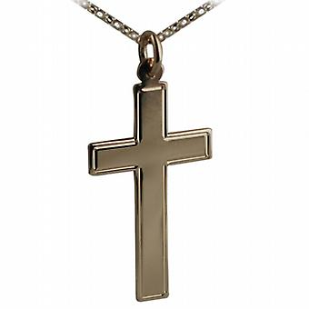9ct Gold 34x19mm engine turned line border flat latin Cross with belcher Chain 24 inches