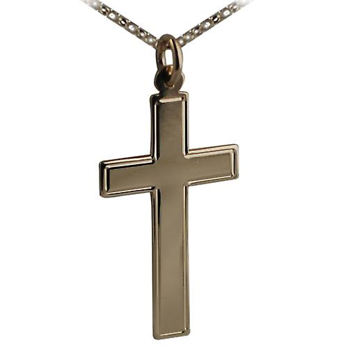 9ct Gold 34x19mm engine turned line border flat latin Cross with belcher Chain 16 inches Only Suitable for Children