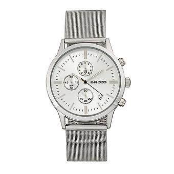 Breed Espinosa Chronograph Mesh-Bracelet Watch w/ Date - Silver