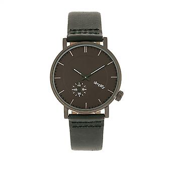 Simplify The 3600 Leather-Band Watch - Charcoal/Green