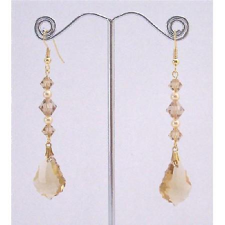 Lite Colorado Baroque Gold Pearl in Gold Hook Earrings