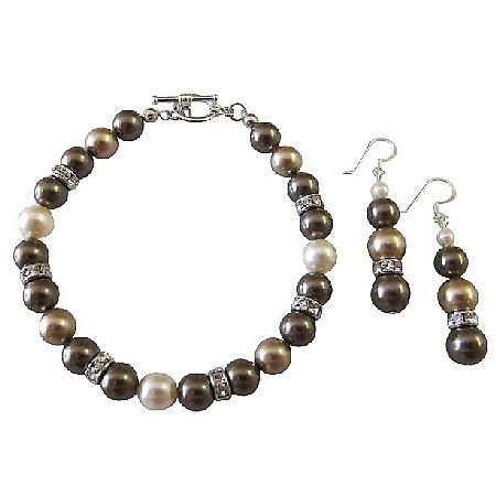 TriColor Swarovski Bronze Brown & Ivory Pearls Bracelet Earrings Gift