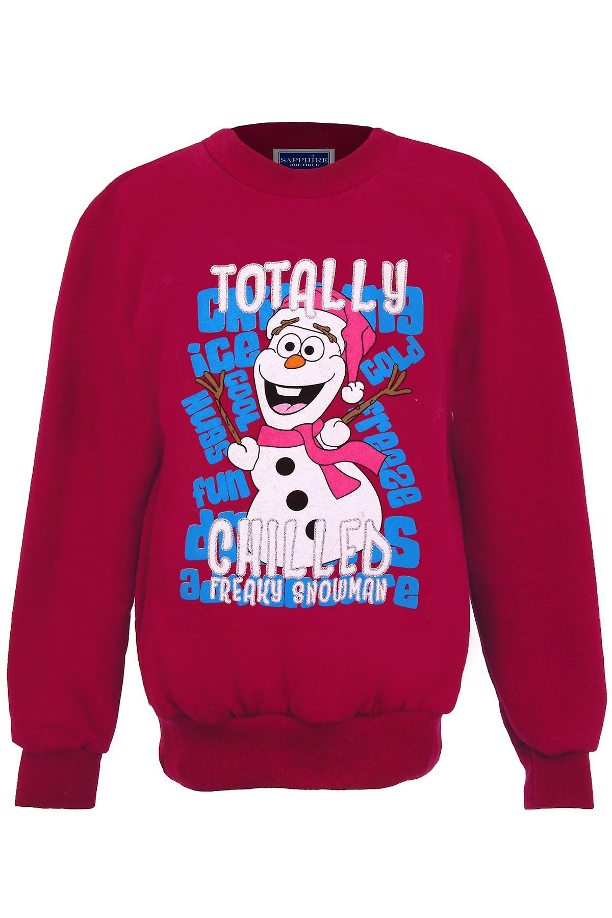 Girls XMAS Festive Christmas Snowman Olaf Frozen Children's Fleece Lined Jumper