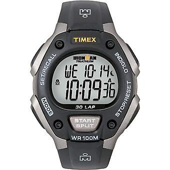 ساعة اليد تيميكس الرجل الحديدي T5E901، كرونوغراف راتنج حزام رجالية، رمادي/أسود