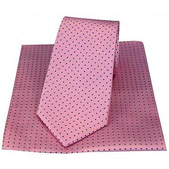 David Van Hagen Pin Dot slips og lommetørkle sett - rosa/blå