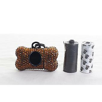 Brown Crystal Strass Knochen geformt Waste Bag Dispenser