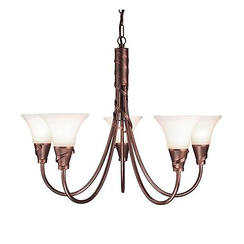 Elstead EM5 COPPER Emily Traditional 5 Arm Chandelier with Spiralling Ribbons
