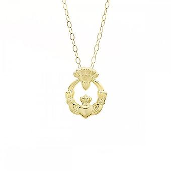 Eternity 9ct Gold Claddagh Pendant And 16'' Chain