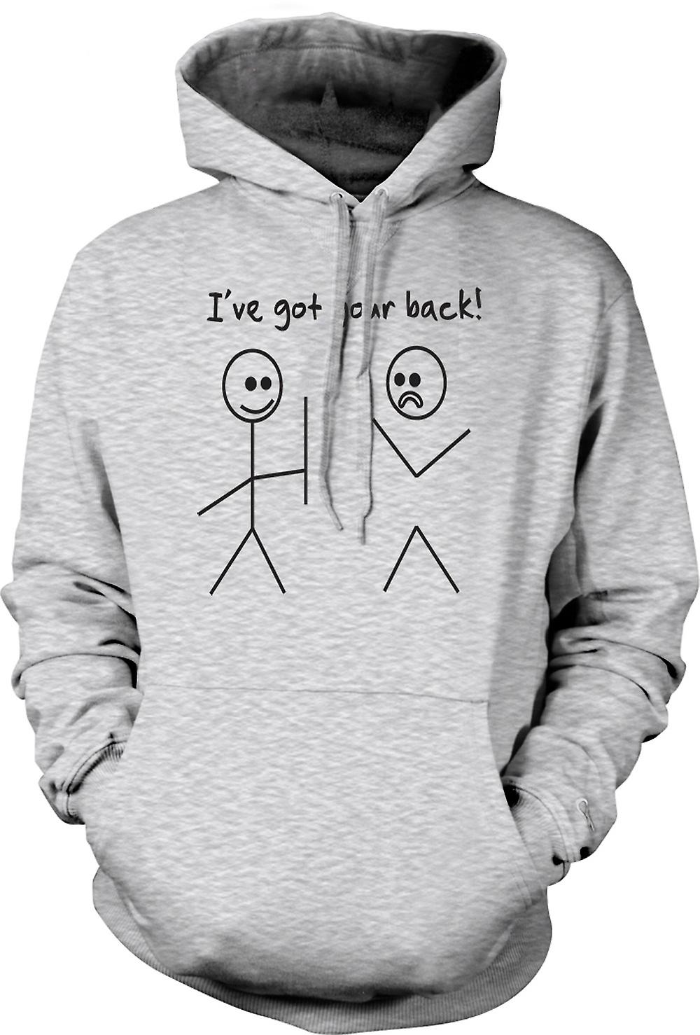 Mens Hoodie - Stickmen, Ive Got Your Back - Quote