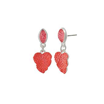 Eternal Collection Chaparral Coral Pink Resin And Enamel Silver Tone Drop Pierced Earrings