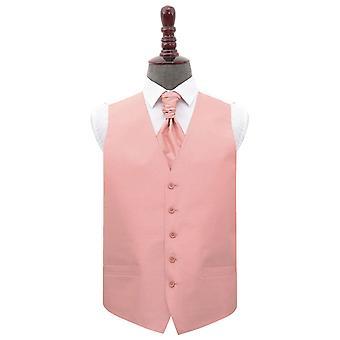 Melocotón rosa Shantung wedding Waistcoat & Cravat Set