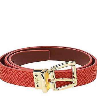 Isaac Mizrahi Live! Reversible Leather Strap Belt XS S Coral Cognac A264211