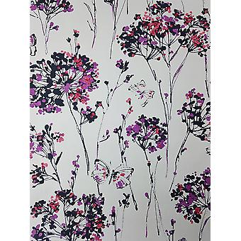 Pink White Purple Floral Butterfly Wallpaper Flower Paste The Wall Vinyl Ugepa