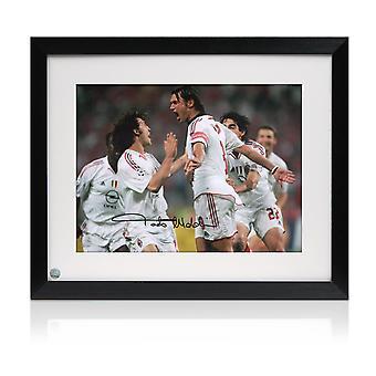 Framed Paolo Maldini Signed AC Milan Photo: Champions League Goal