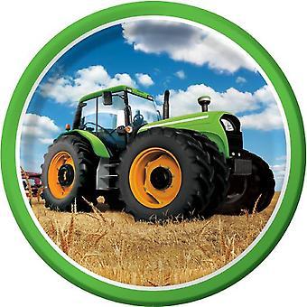 Traktor Party Teller 23cm Pappteller 8 Stück Bauernhofparty Trecker Kindergeburtstag