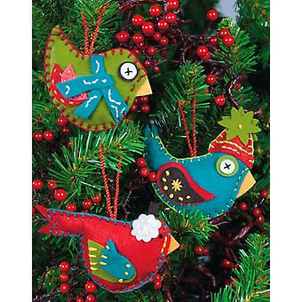 Whimsical Birds Ornaments Felt Applique Kit 2 3 4