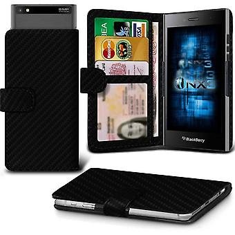 ONX3 BlackBerry Z3 cuir Universal Spring Clamp Etui portefeuille avec porte-cartes de fente et de billets en poche-carbone noir