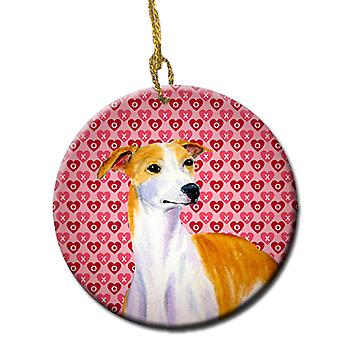 Whippet Valentine's Love and Hearts Ceramic Ornament