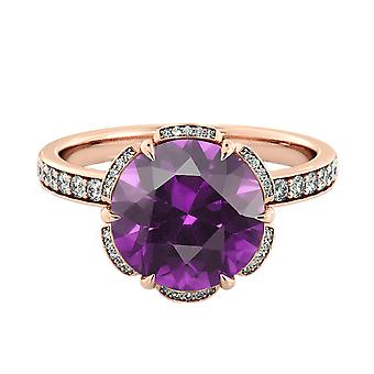14K Rose Gold 2.00 ctw Amethyst Ring with Diamonds Flower Vintage Halo