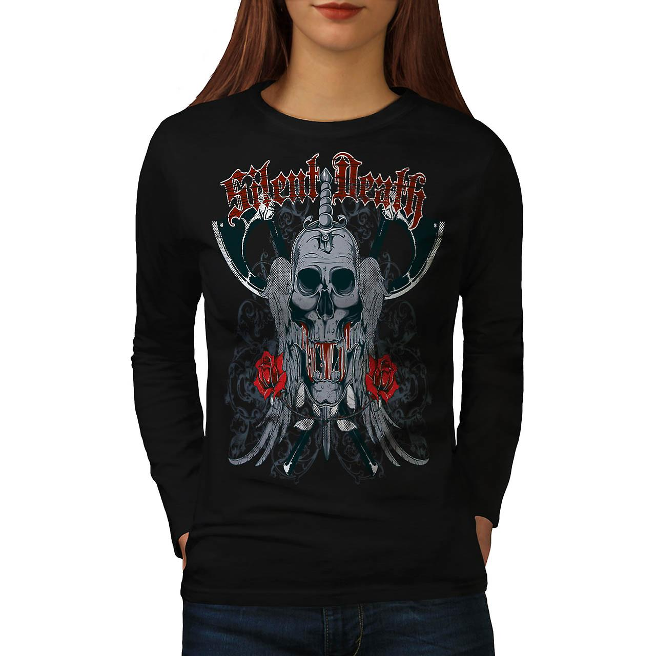 Silent Death Rose Skull Women Black Long Sleeve T-shirt | Wellcoda