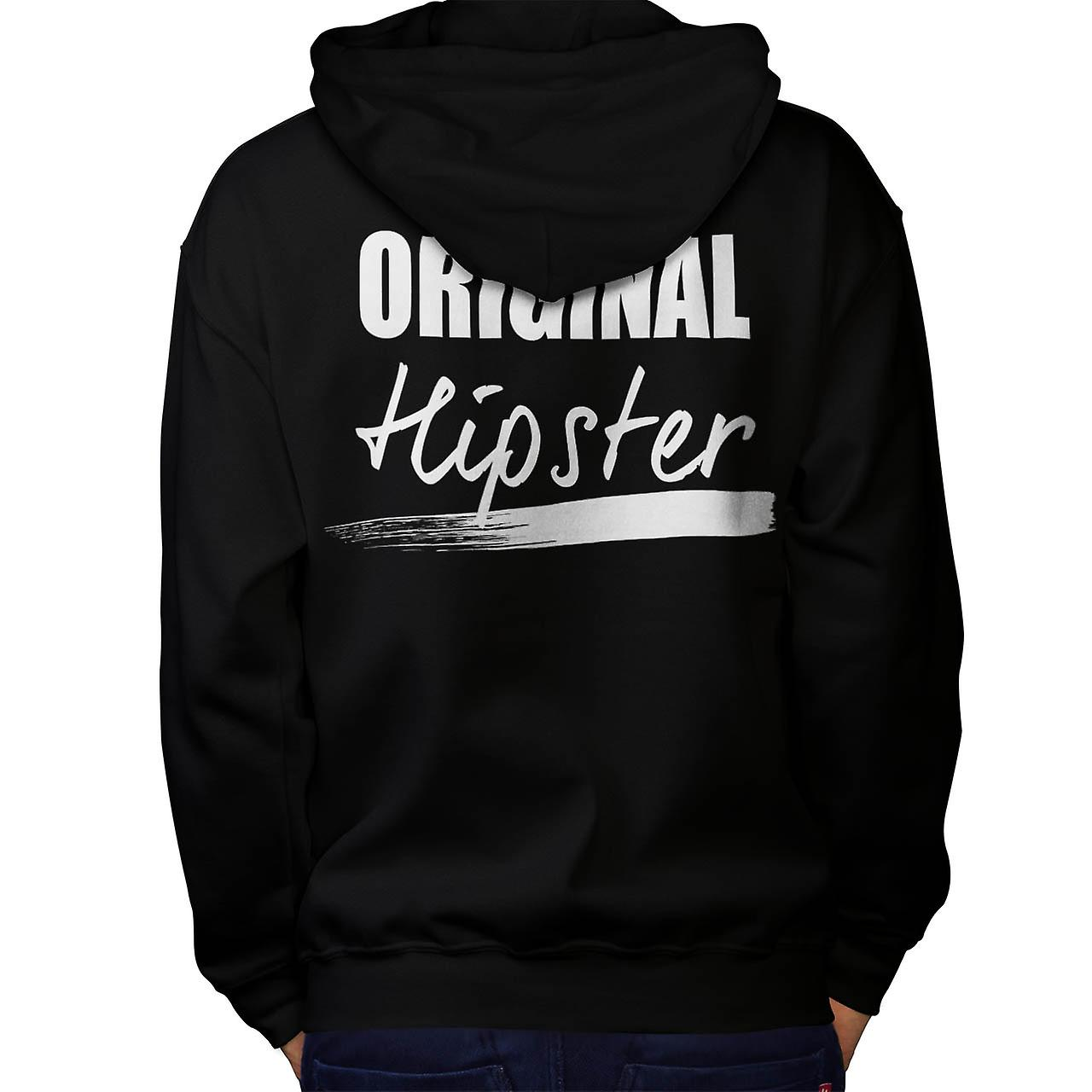 The Original Hipster Trend Set Men Black Hoodie Back | Wellcoda