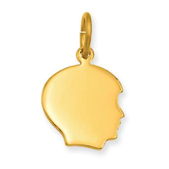 Gold-Flashed Polished back Small Engravable Boys Head Charm