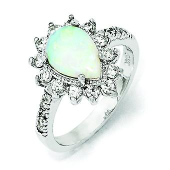 Sterling Silver CZ Synthetic Opal Pear Shaped Ring - Ring Size: 6 to 8