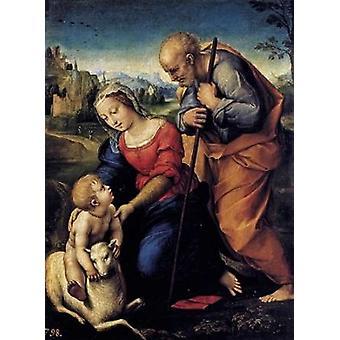 Heilige Familie mit dem Lamm Poster Print von Raphael