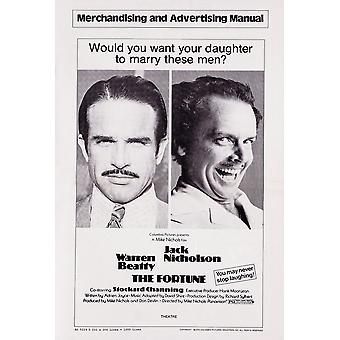 Fortune oss plakatkunst fra venstre Warren Beatty Jack Nicholson 1975 film plakat Masterprint