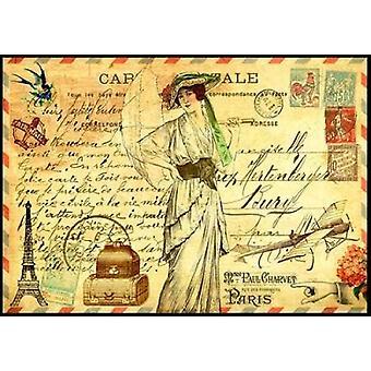 Vintage Paris vykort Mademoiselle affisch Skriv av Marion De Lauzun