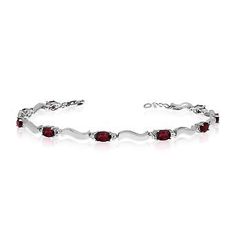 10K White Gold Oval Garnet and Diamond Bracelet