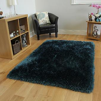 Teal Blue Thick Shaggy Rug Glamour