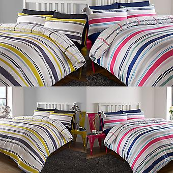 Check Duvet Cover with Pillowcase Bedding Set Tartan Stripe Grey Lime Blue White