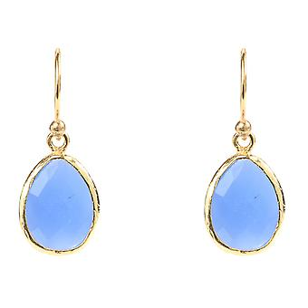 Gemstone Small Earrings Dangle Drop 925 Silver Gold Blue Chalcedony Hook Tear