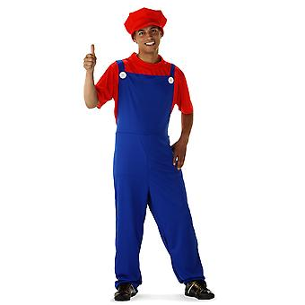 Super plumber Mario costume super hero suit men
