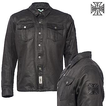 WCC West Coast choppers Califa motorcycle waxed shirt speed shirt Kevlar aramid fiber by DuPont Black