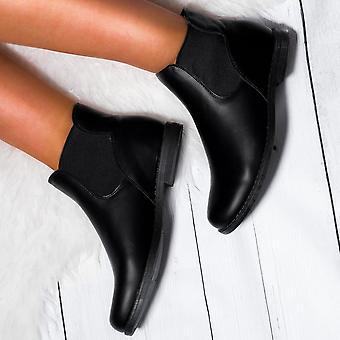 Spylovebuy MAXIMO Flat Chelsea Ankle Boots - Black Leather Style