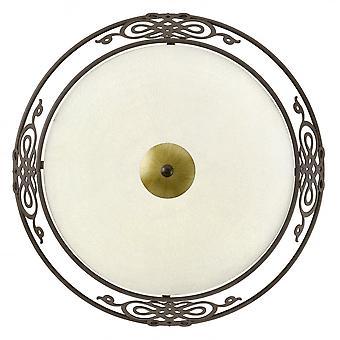 Eglo Mestre 2 Light Traditional Ceiling Light Flush Antique Brow