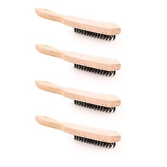 Charles Bentley Wire Scratch Brush 4-Row Bristles - Rust and Paint Removal - (4 Pack)