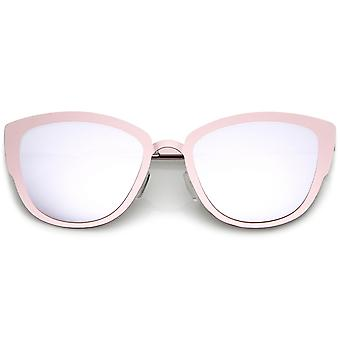 Premium Oversize Metal Cat Eye Sunglasses With Colored Mirror Lens 54mm