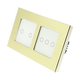 I LumoS Gold Brushed Aluminium Double Frame 5 Gang 1 Way WIFI/4G Remote Touch LED Light Switch White Insert