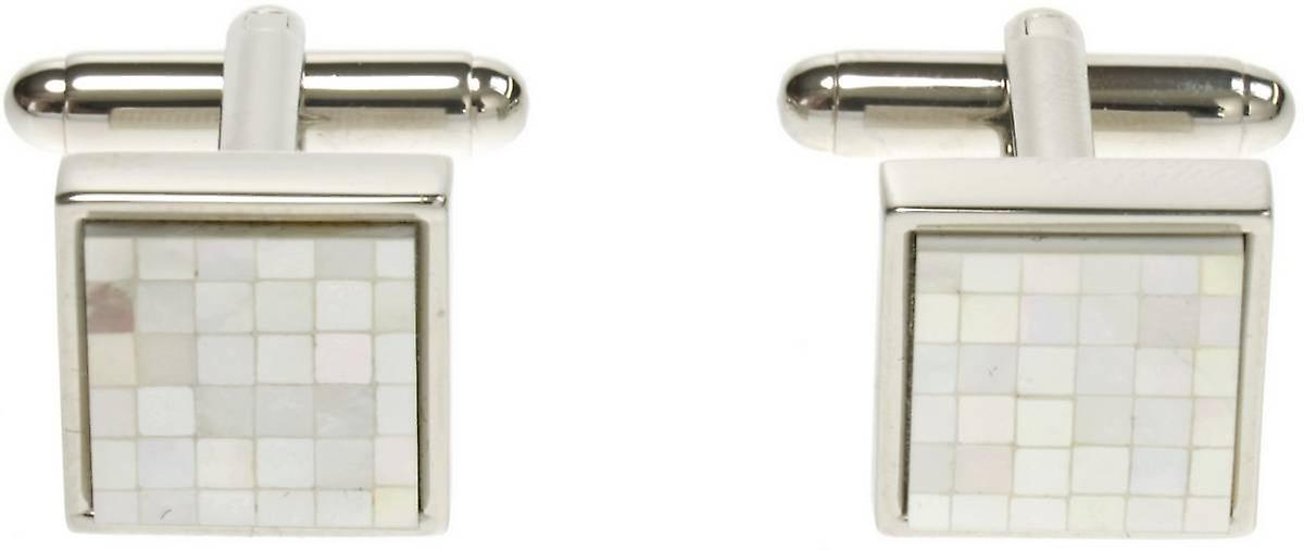 Simon Carter Chequer Mother of Pearl Cufflinks - White