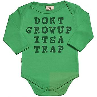 Spoilt Rotten Don't Grow Up It's A Trap Long Sleeve Organic Baby Grow