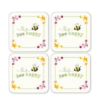 Cooksmart Bee Happy Pack of 4 Coasters