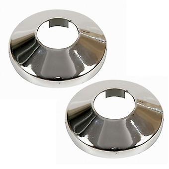 2x Pieces Chromed PVC Plastic Radiator Pipe Cover Collar Rose 15-22mm Diameter