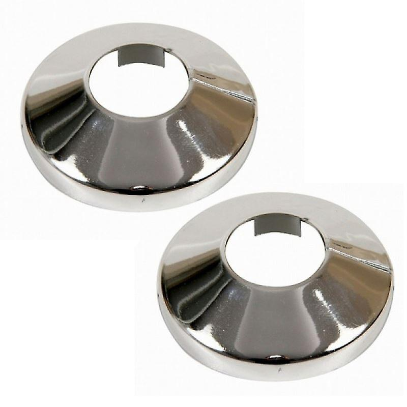 2 Pieces Chromed PVC Radiator Pipe Cover Collar Rose