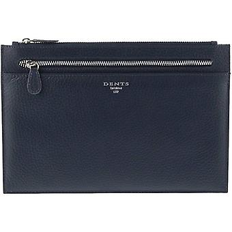 Dents Pebble Grain Travel Pouch - Navy